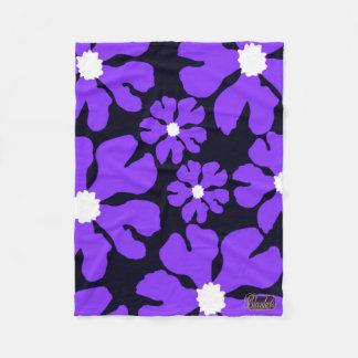 Purple Blossoms Blue Fleece Blanket