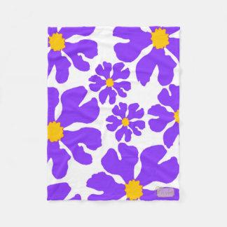 Purple Blossoms White Fleece Blanket