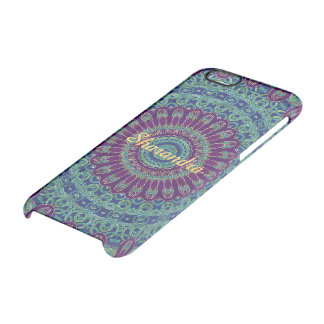 Purple, Blue and Green Mandala Clear iPhone 6/6S Case