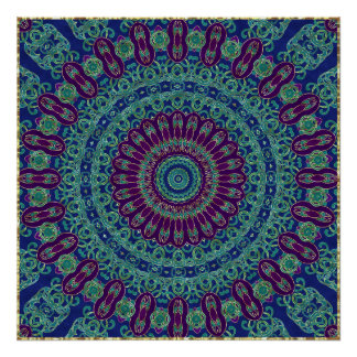 Purple, Blue and Green Mandala Poster