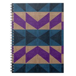 Purple Blue Aztec Pattern Spiral Notebook