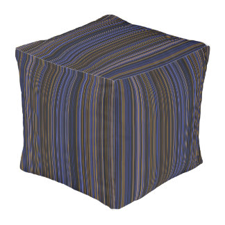 Purple blue brown pink retro stripe square pouf
