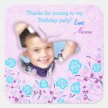 Purple & blue cute butterfly photo frame for kids sticker