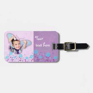 Purple & blue cute butterfly photo frame tags