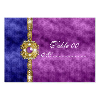purple blue damask table placement guests business card template