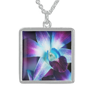 Purple & Blue Dendrobium Orchid Customized Orchids Sterling Silver Necklace