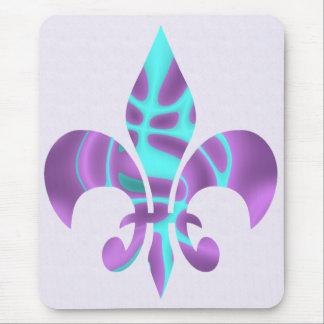 Purple & blue Fleur de lis Mouse Pad