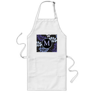 Purple Blue Floral Monogram Long Apron
