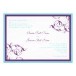 purple & blue flourish wedding invitation