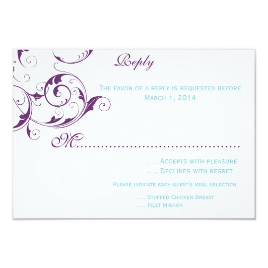 purple & blue flourish wedding invitation rsvp