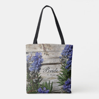 purple blue flower personalized Name Bride ,date Tote Bag