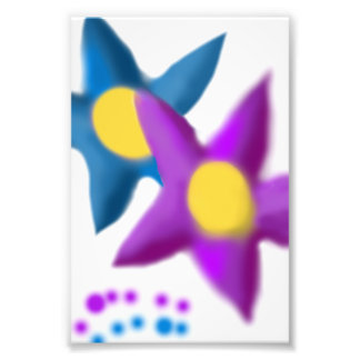 Purple Blue Flowers Painting Art Photo