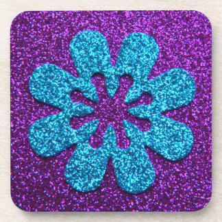 Purple & Blue Glitter Retro Flower Beverage Coaster