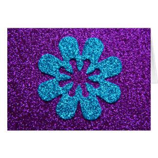 Purple & Blue Glitter Retro Flower Card