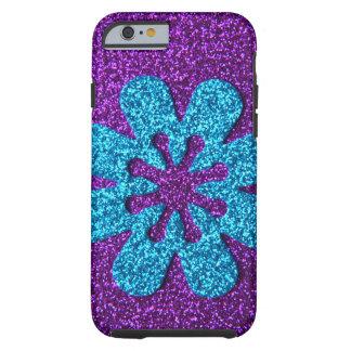 Purple & Blue Glitter Retro Flower Tough iPhone 6 Case