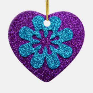 Purple & Blue Glitter Retro Flower Christmas Tree Ornament