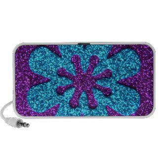 Purple & Blue Glitter Retro Flower Travel Speaker