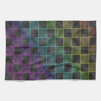 Purple Blue & Green Grunge Squares Tea Towel