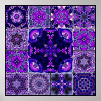 Purple & Blue Iris Flower Petals, Mosaic Montage Poster