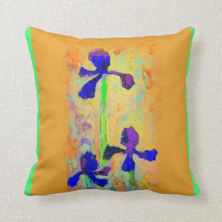 Purple Blue Iris Garden Mustard Pillow by Sharles