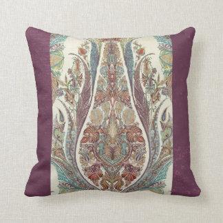 Purple Blue Kashmir Vintage Tribal Paisley Antique Cushion