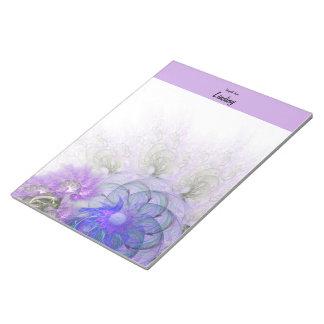 Purple & Blue Lacy Flower Digital Artwork Notepad