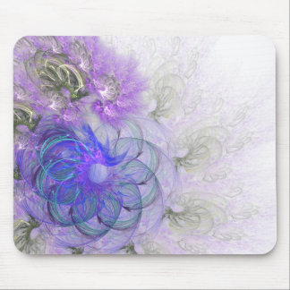 Purple & Blue Lacy Flower Fractal Design Mouse Pad