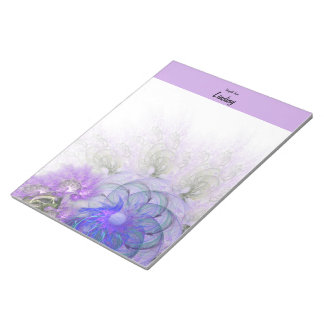 Purple & Blue Lacy Flower Fractal Design Notepads