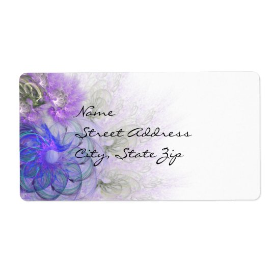 Purple & Blue Lacy Flower Fractal Design Shipping Label
