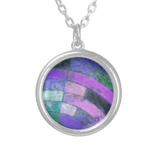 Purple Blue Mosaic Silver Plated Necklace
