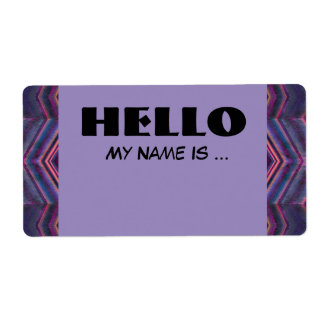 purple blue name badge shipping label