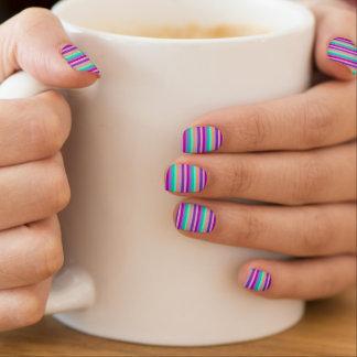 Purple, Blue, Orange Stripes Mini Nail Art Decals
