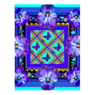 Purple-Blue Pansy, Butterfly gifts by Sharles Postcard