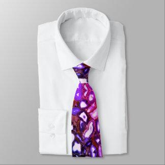 Purple blue pink  agates tie