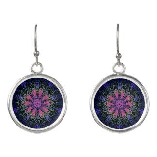 Purple Blue Pink Floral Lace Mandala Earrings