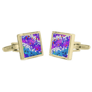 Purple Blue Pink Mosaic Tile Pattern Cufflinks Gold Finish Cufflinks