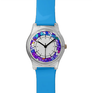 Purple Blue Pink Mosaic Tile Pattern Watch