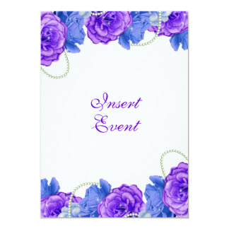 Purple blue rose birthday wedding 13 cm x 18 cm invitation card