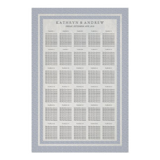 Purple Blue Seigaiha Wedding/Event Seating Chart Poster
