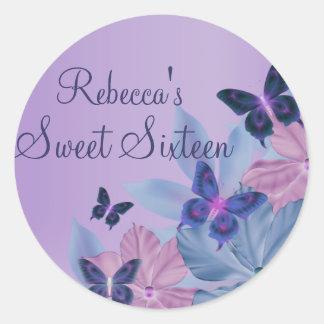 Purple & Blue Shimmer Butterfly Sweet 16 Sticker