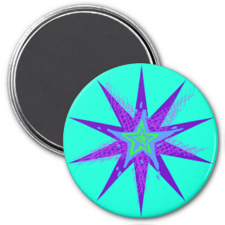 Purple Blue Star Circle Magnet