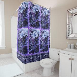 Purple & blue succulents shower curtain