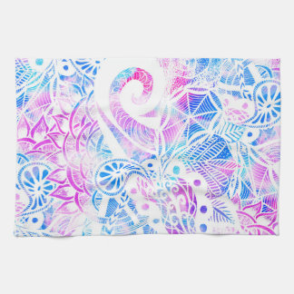 Purple Blue Teal White Hand Drawn Flowers Doodle Tea Towel
