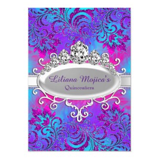 Purple Blue Tiara & Glitter Floral Quinceanera Card