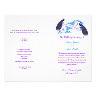 Purple Blue Vintage Peacock Wedding Program Flyer