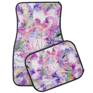 Purple blue watercolor abstract floral monogram floor mat