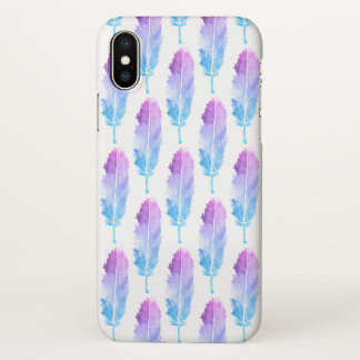 Purple Blue Watercolor Feather Pattern iPhone X Case