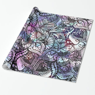 Purple blue watercolor floral hand drawn pattern wrapping paper