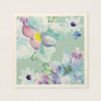 Purple & Blue Watercolor Flowers Shower Napkins Disposable Serviettes