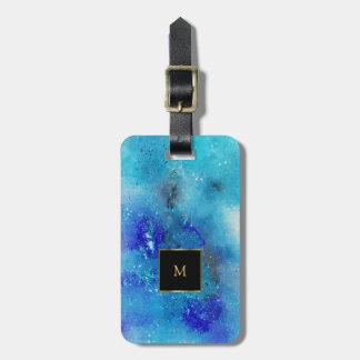 Purple blue watercolor splatter gold monogram luggage tag